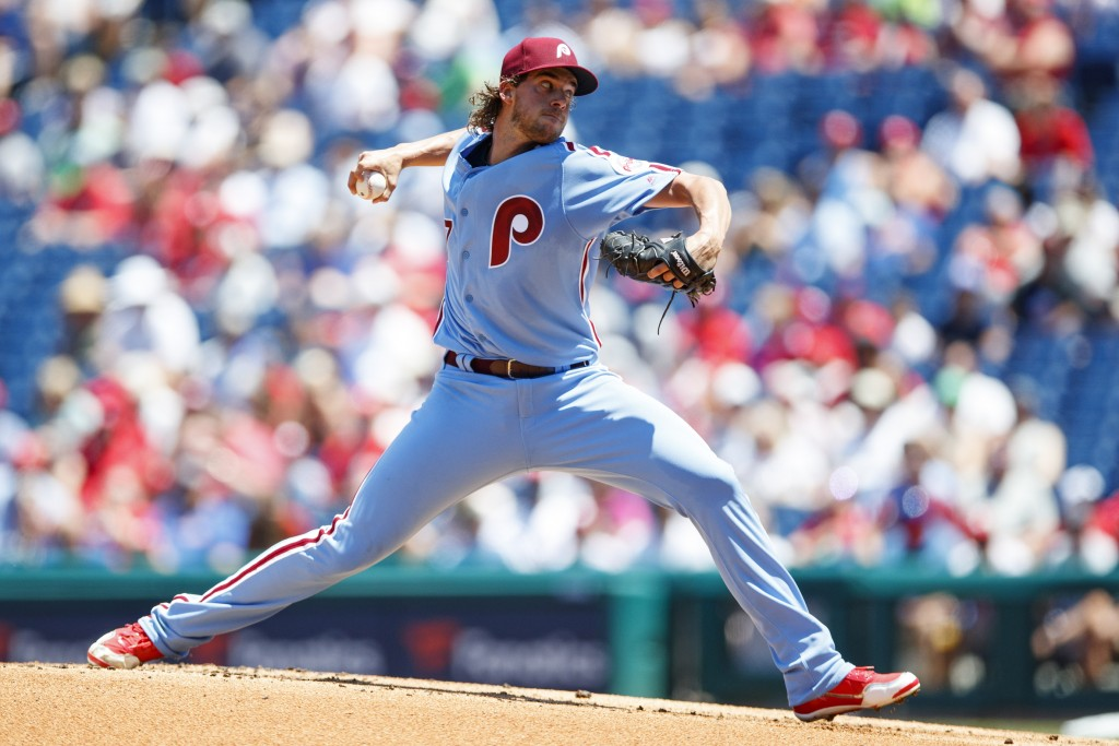 Philadelphia Phillies' Aaron Nola pitches during the first inning of a baseball game against the New York Mets, Thursday, June 27, 2019, in Philadelph...