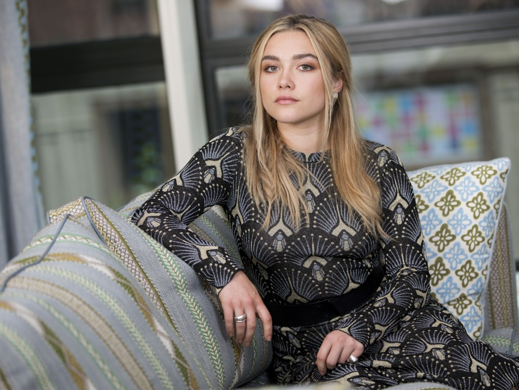 "This June 18, 2019 photo shows actress Florence Pugh posing for a portrait at the Crosby Street Hotel in New York to promote her film ""Midsommar."" (Ph..."
