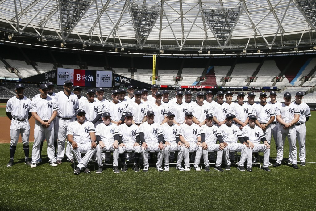 The New York Yankees pose for a team picture in London, Friday, June 28, 2019. Major League Baseball will make its European debut with the New York Ya...