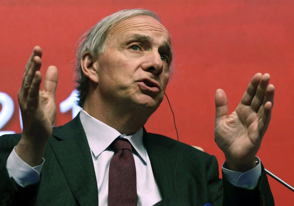 FILE - In this March 23, 2019 file photo, Bridgewater Associates Chairman Ray Dalio speaks during the Economic Summit held for the China Development F...
