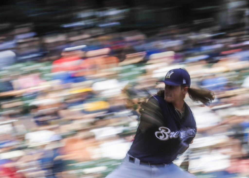 Milwaukee Brewers relief pitcher Josh Hader throws during the eighth inning of a baseball game against the Seattle Mariners Thursday, June 27, 2019, i...