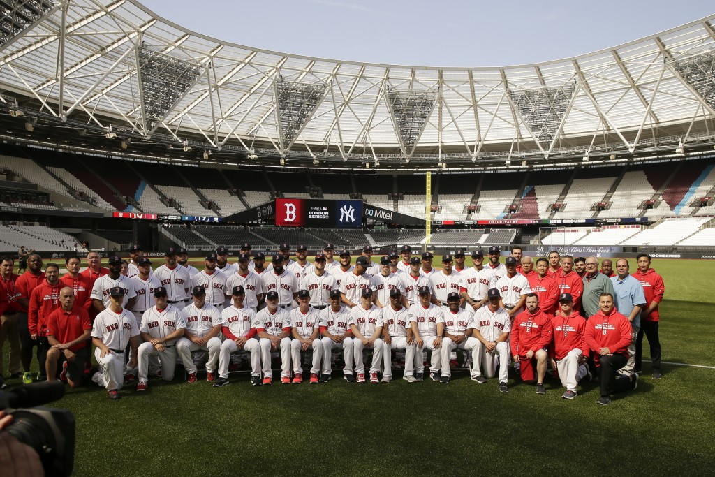 The Boston Red Sox pose for a team pictures in London, Friday, June 28, 2019. Major League Baseball will make its European debut with the New York Yan