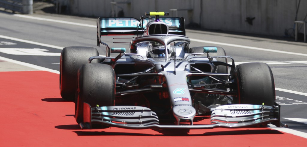 Mercedes driver Valtteri Bottas of Finland steers his car during the third free practice session for the Austrian Formula One Grand Prix at the Red Bu...