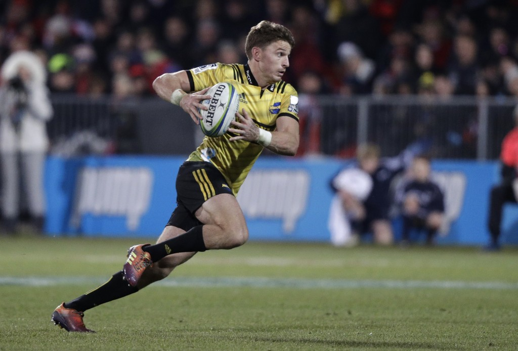 Hurricanes Beauden Barrett makes a break during the Super Rugby semifinal between the Crusaders and the Hurricanes in Christchurch, New Zealand, Satur...
