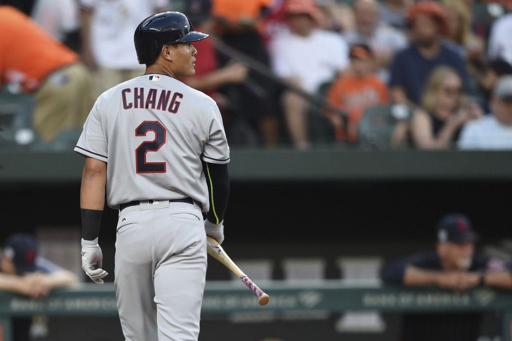Cleveland Indians' Yu Chang walks to the dugout after striking out against the Baltimore Orioles in his major league debut in the first inning of a ba...