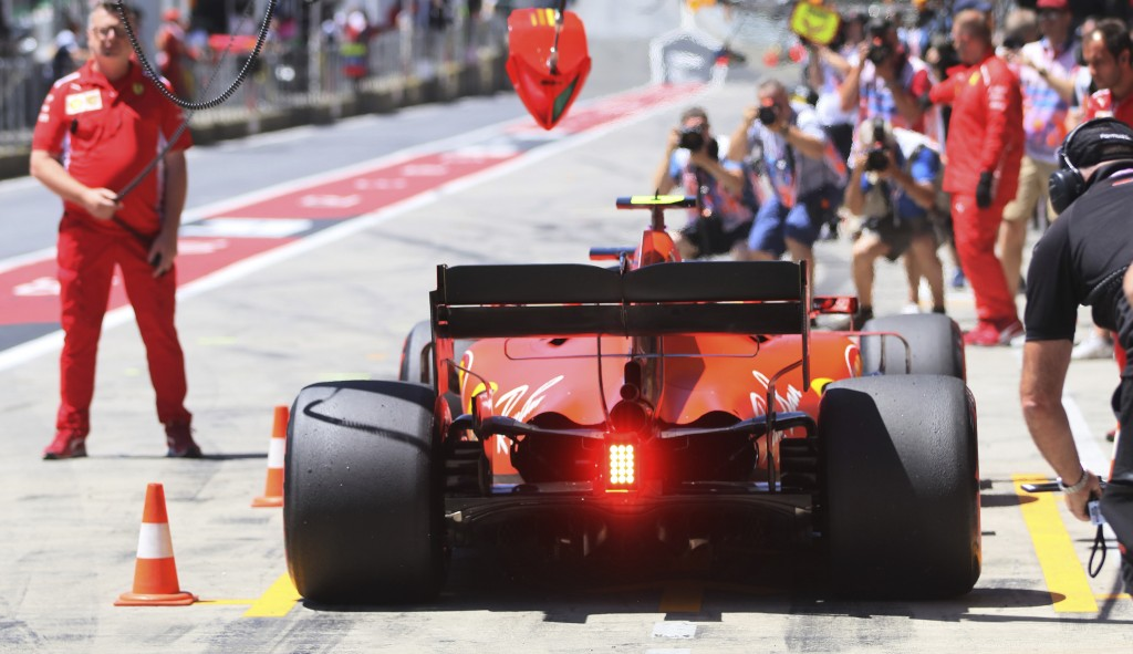 Ferrari driver Charles Leclerc of Monaco gets a pit service during the third free practice session for the Austrian Formula One Grand Prix at the Red ...