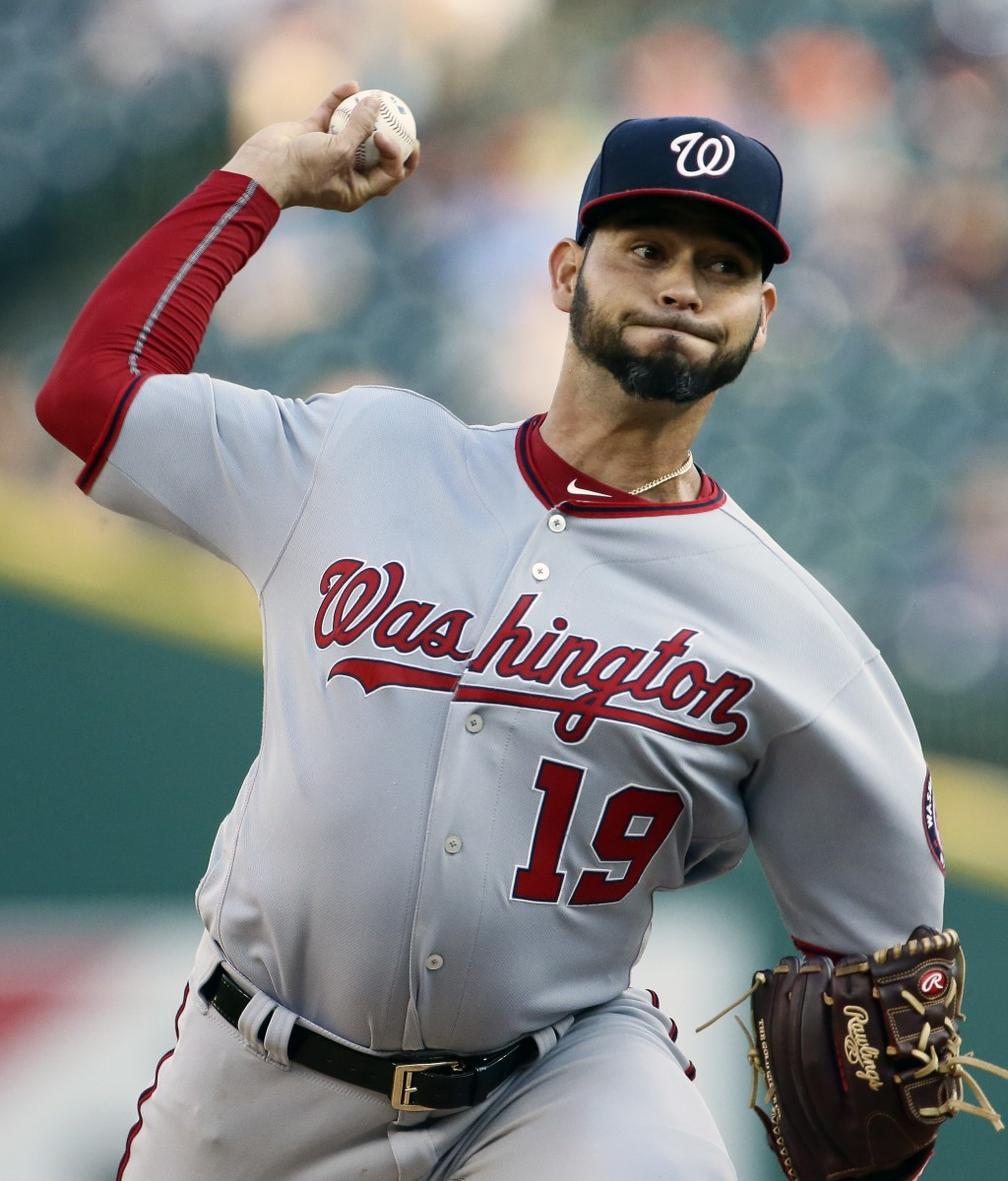 Washington Nationals' Anibal Sanchez pitches against the Detroit Tigers during the second inning of a baseball game Friday
