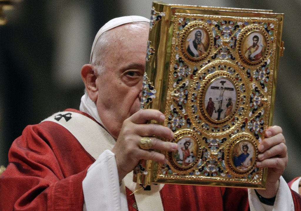 Pope Francis celebrates a Mass where he bestowed the Pallium, a woolen shawl symbolizing their bond to the pope, to new Metropolitan Archbishops, in S...