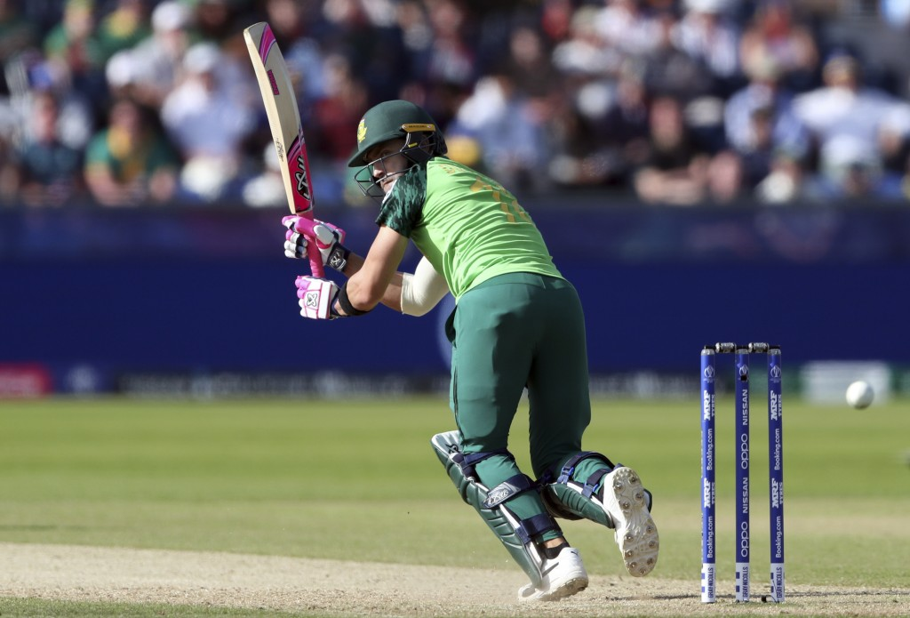 South Africa's captain Faf du Plessis watches his shot as takes a run during the Cricket World Cup match between Sri Lanka and South Africa at the Riv...