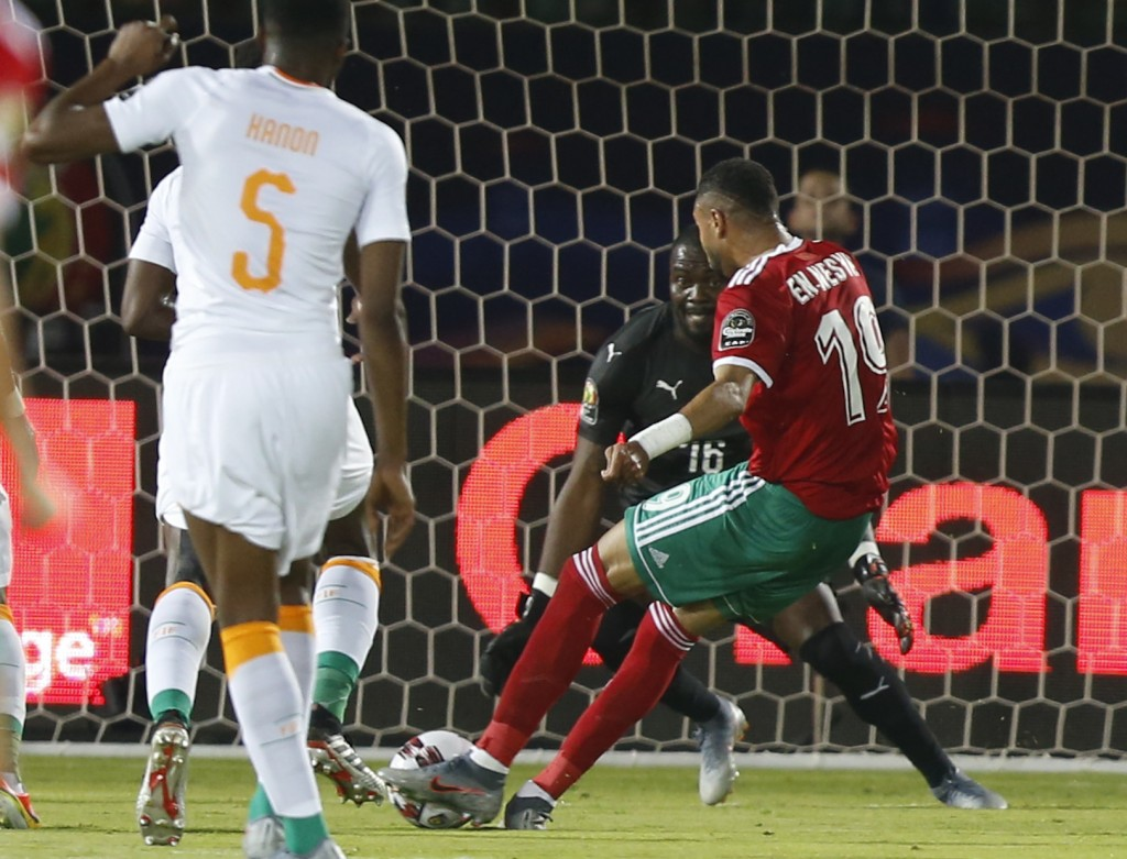 Morocco's Youssef En-Nesyri scores during the African Cup of Nations group D soccer match between Morocco and Ivory Coast in Al Salam Stadium in Cairo...