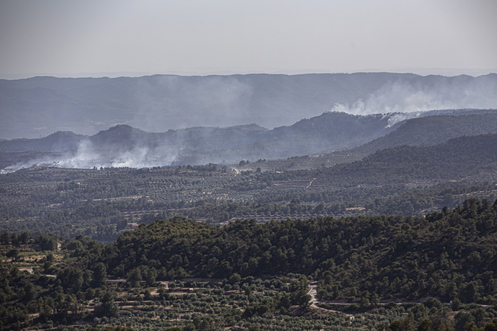 Smoke rises after a fire in La Palma d'Ebre, Spain, Friday June 28, 2019. A major wildfire in northeastern Spain that began in a pile of chicken dung ...