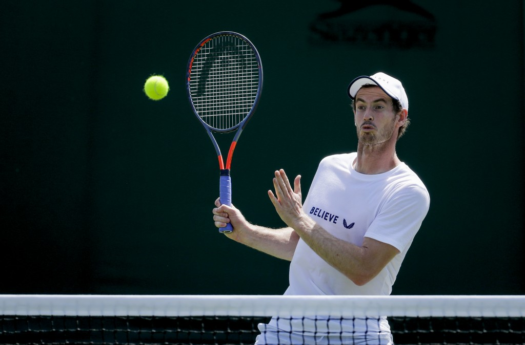 Andy Murray of Britain attends a doubles practice session ahead of the Wimbledon Tennis Championships in London Saturday, June 29, 2019. The Wimbledon...