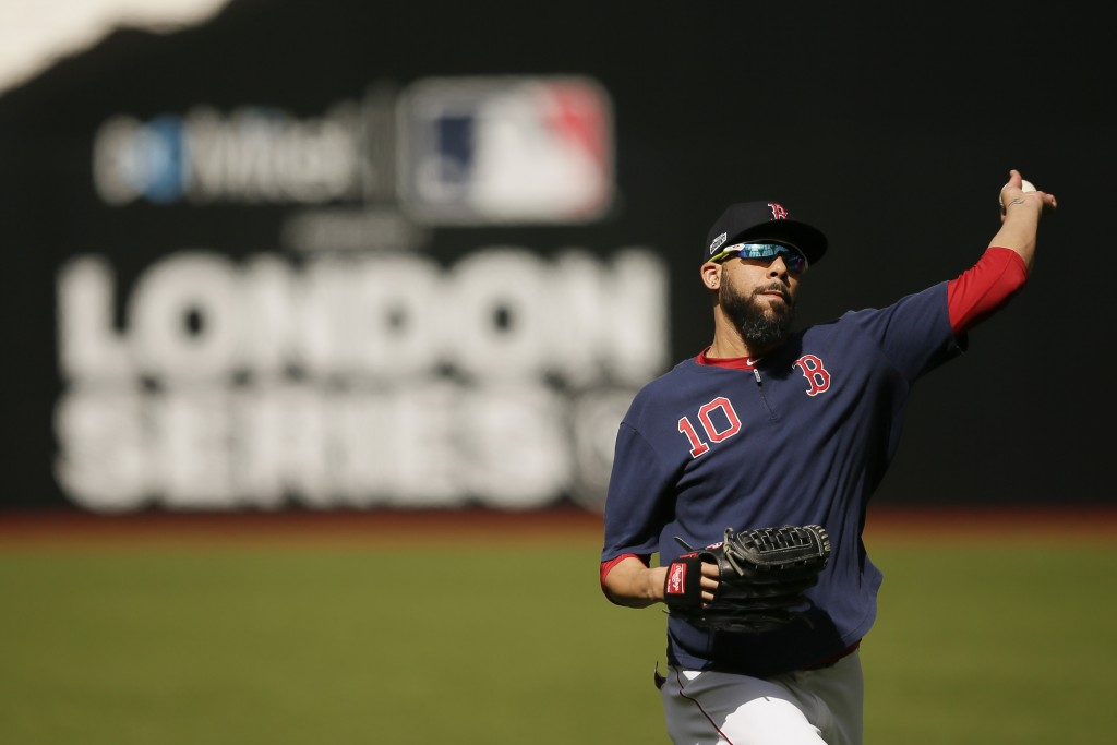 Boston Red Sox starting pitcher David Price throws during batting practice in London, Friday, June 28, 2019. Major League Baseball will make its Europ...