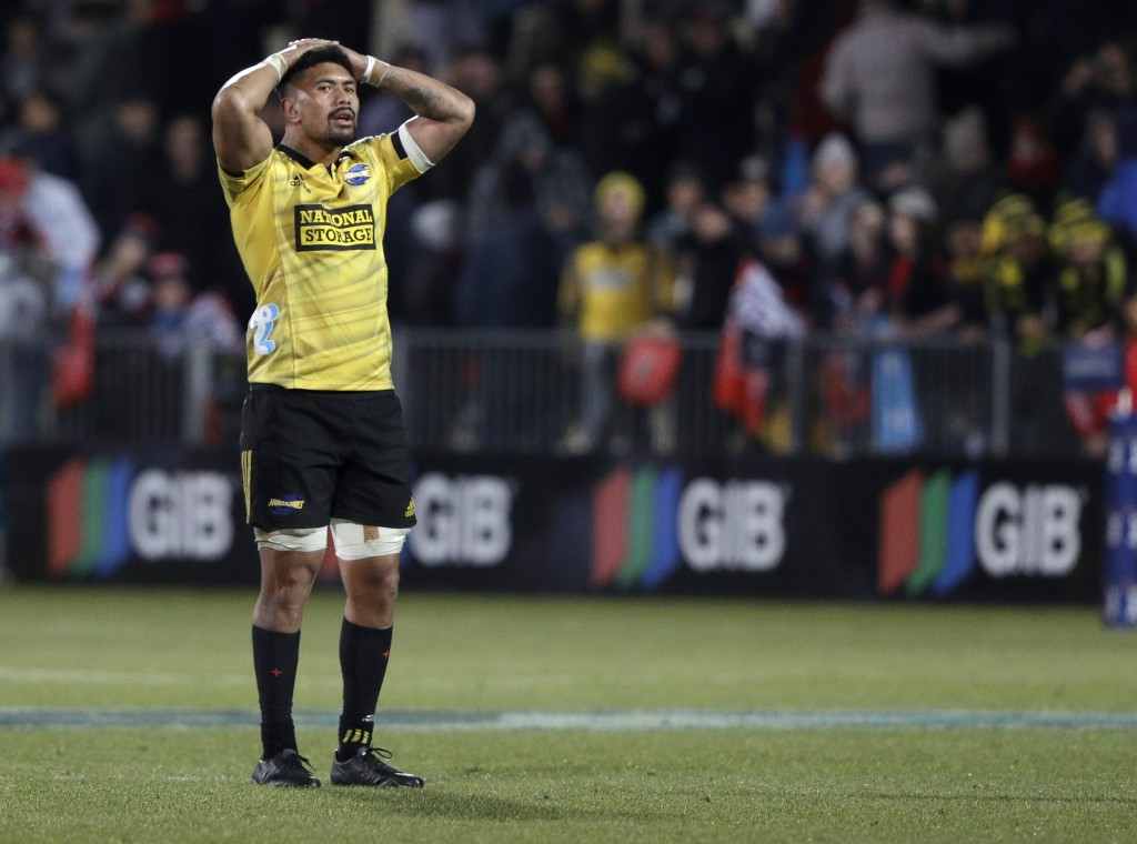 Hurricanes Ardie Savea reacts following his team's loss to the Crusaders in their Super Rugby semifinal in Christchurch, New Zealand, Saturday, June 2...