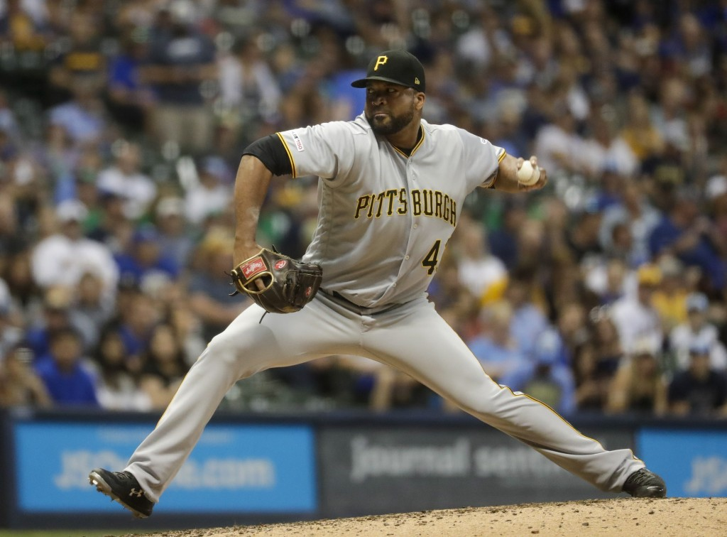 Pittsburgh Pirates starting pitcher Francisco Liriano throws during the sixth inning of a baseball game against the Milwaukee Brewers Friday, June 28,...