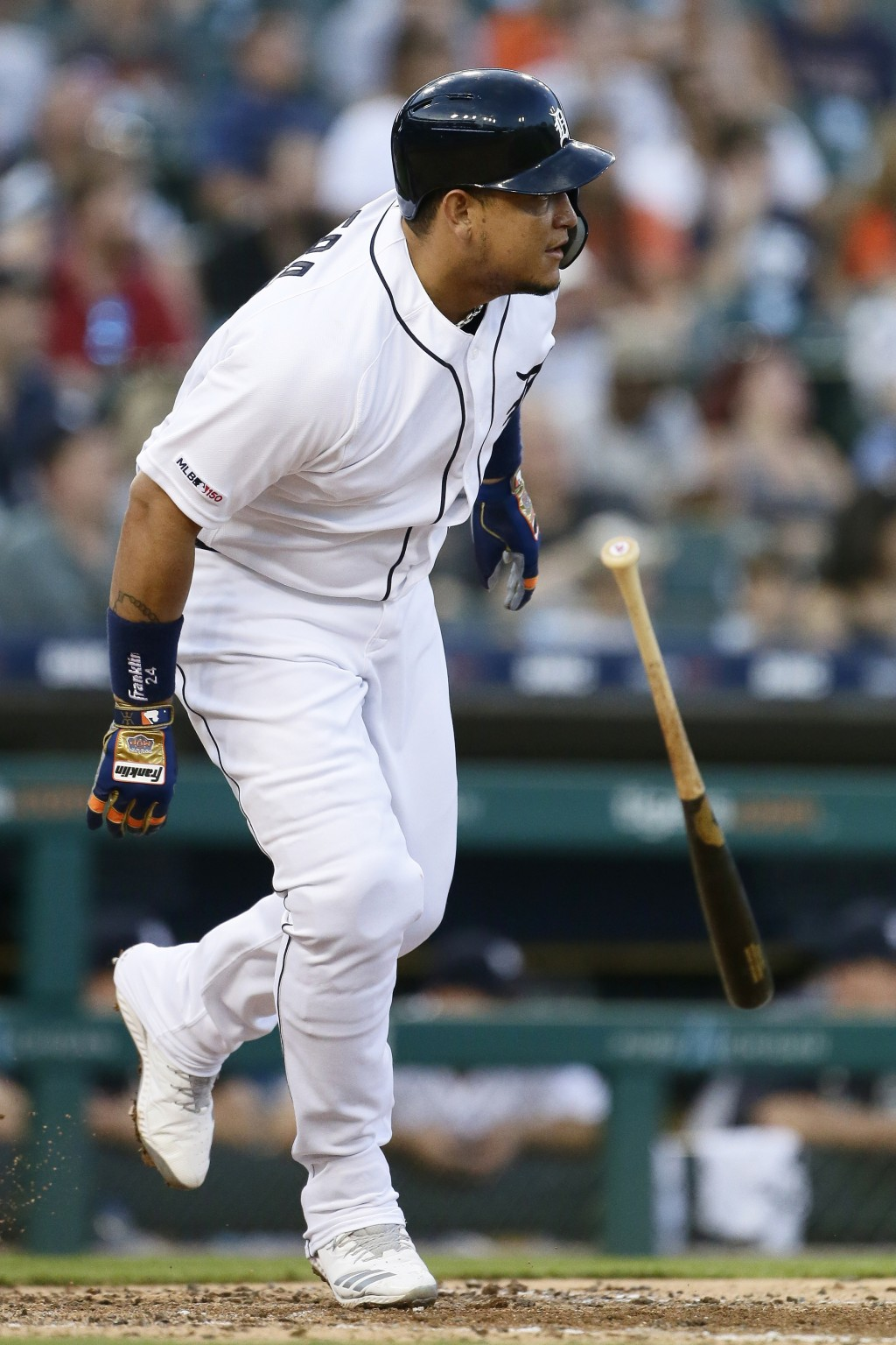 Detroit Tigers' Miguel Cabrera starts to run after hitting a single against the Washington Nationals during the fifth inning of a baseball game Friday...