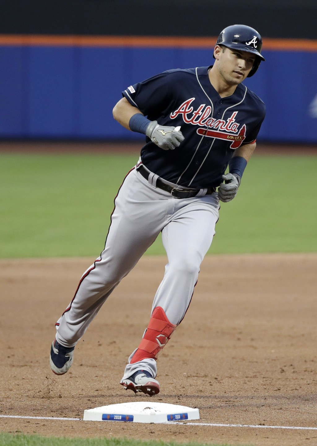 Atlanta Braves' Austin Riley runs the bases after hitting a two-run home run during the second inning of a baseball game against the New York Mets, Fr...