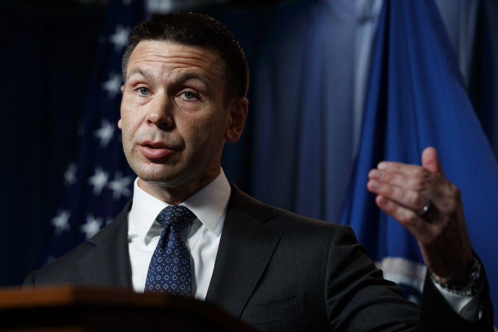 Department of Homeland Security (DHS) acting Secretary Kevin McAleenan speaks during a news conference in Washington, Friday, June 28, 2019. (AP Photo...