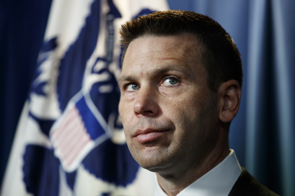Department of Homeland Security (DHS) acting Secretary Kevin McAleenan pauses during a news conference in Washington, Friday, June 28, 2019. (AP Photo...