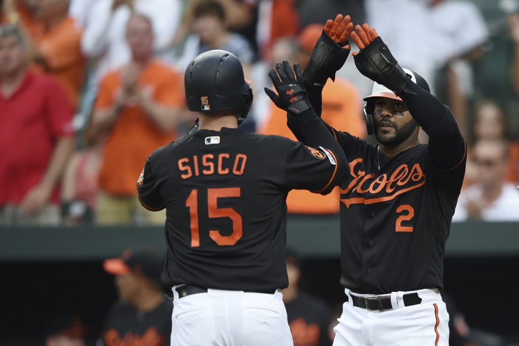 Baltimore Orioles' Jonathan Villar, right, congratulates Chance Sisco after Sisco hit a two-run home run against the Cleveland Indians in the first in...