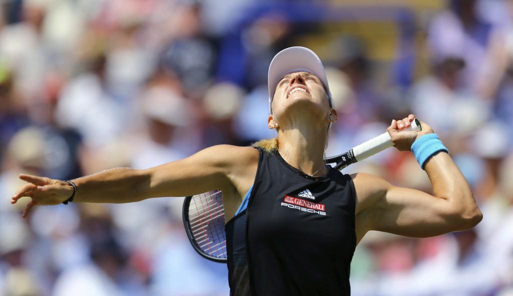 German Angelique Kerber in action against Czech player Karolina Pliskova during the Ladies' Singles Final singles match of the Nature Valley Internati...