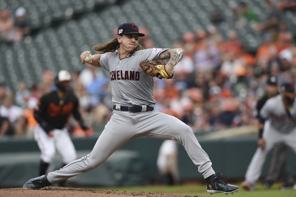 Cleveland Indians pitcher Mike Clevinger throws in the first inning of a baseball game against the Baltimore Orioles, Friday, June 28, 2019, in Baltim...