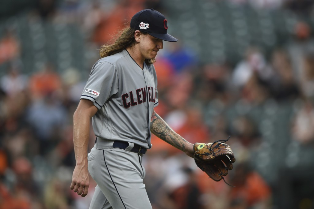 Cleveland Indians pitcher Mike Clevinger walks to the dugout after giving up four runs to the Baltimore Orioles in the first inning of a baseball game...