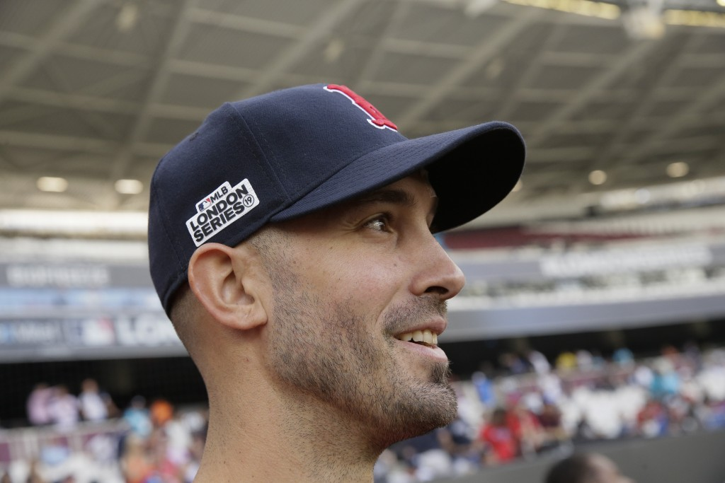 Boston Red Sox starting pitcher Rick Porcello watches during batting practice in London, Friday, June 28, 2019. Major League Baseball will make its Eu...