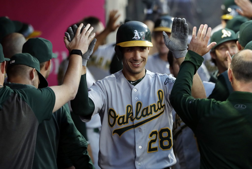 Oakland Athletics' Matt Olson (28) is congratulated in the dugout for his three-run home run during the third inning of the team's baseball game again...