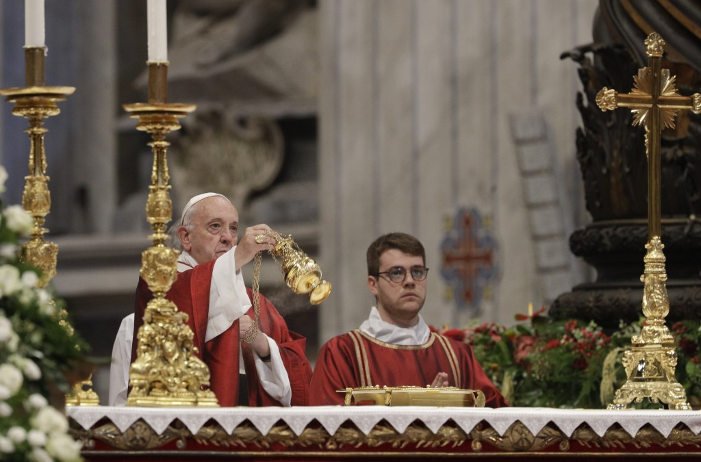 Pope Francis celebrates Mass with blessing of the palliums, in St. Peter's Basilica at the Vatican, Saturday, June 29, 2019. (AP Photo/Gregorio Borgia...