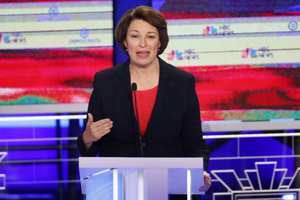 In this June 26, 2019, photo, Democratic presidential candidate Sen. Amy Klobuchar, D-Minn., gestures, during a Democratic primary debate hosted by NB...