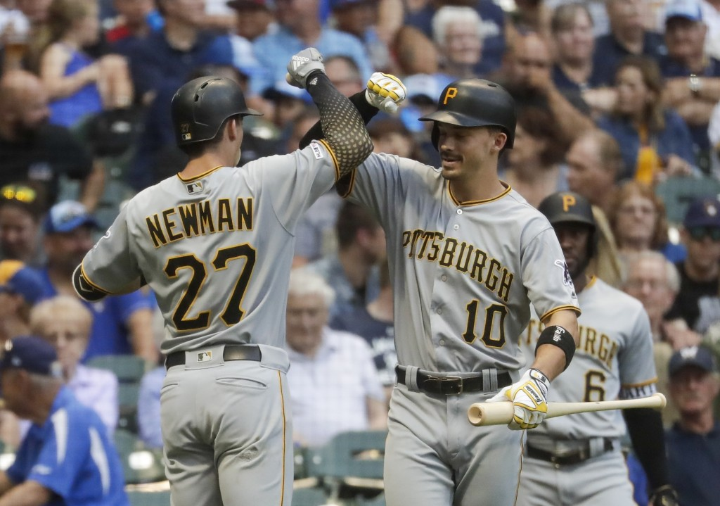 Pittsburgh Pirates' Kevin Newman is congratulated by Bryan Reynolds after hitting a home run during the third inning of a baseball game against the Mi...