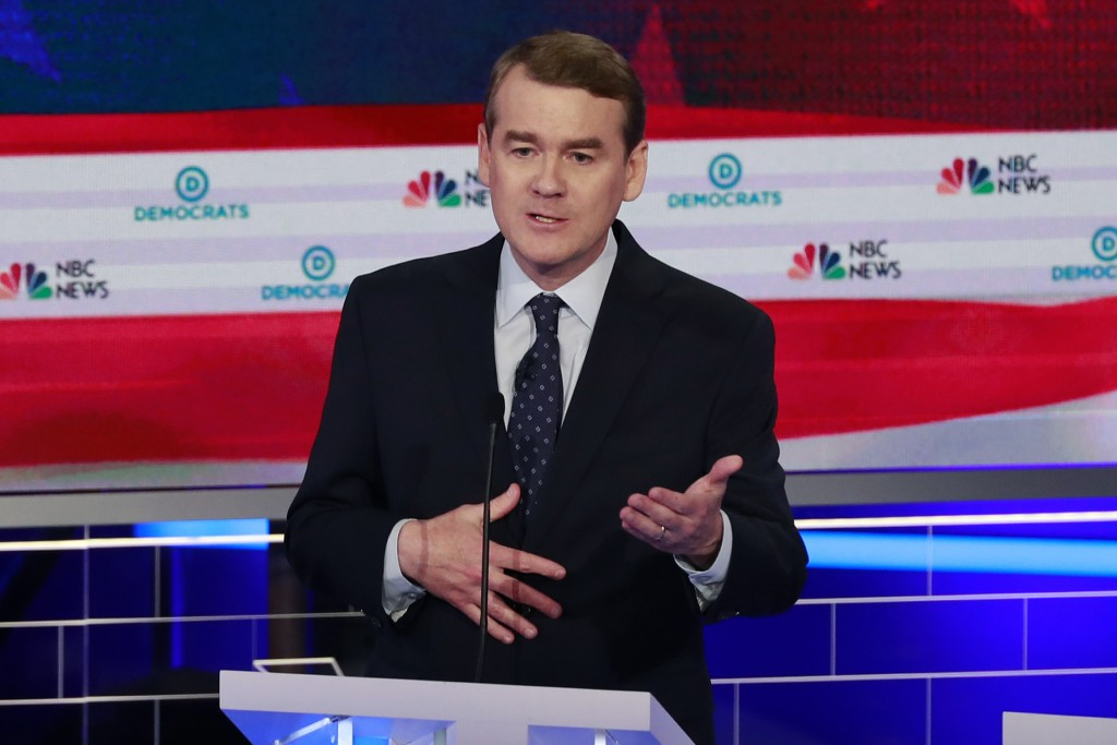 In this June 27, 2019, photo, Democratic presidential candidate Colorado Sen. Michael Bennet speaks during the Democratic primary debate hosted by NBC...
