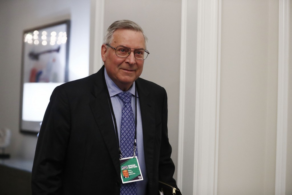 FILE - In this May 22, 2019 file photo, Terry Pegula, arrives to the NFL football owners meeting in Key Biscayne, Fla.  Rather than fullfilling his pr...