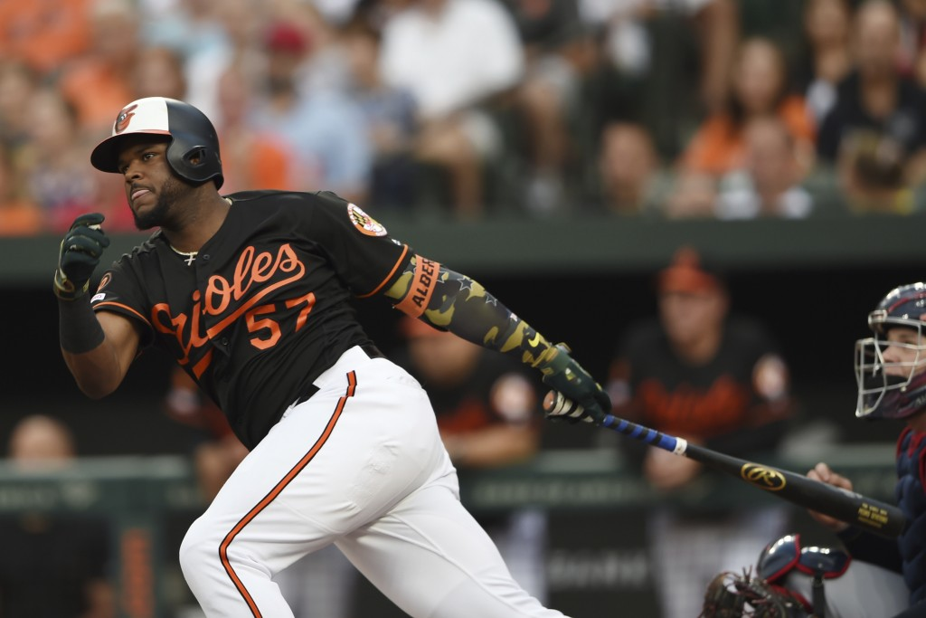 Baltimore Orioles' Hanser Alberto follows through on a two-run double against the Cleveland Indians in the first inning of a baseball game Friday, Jun...