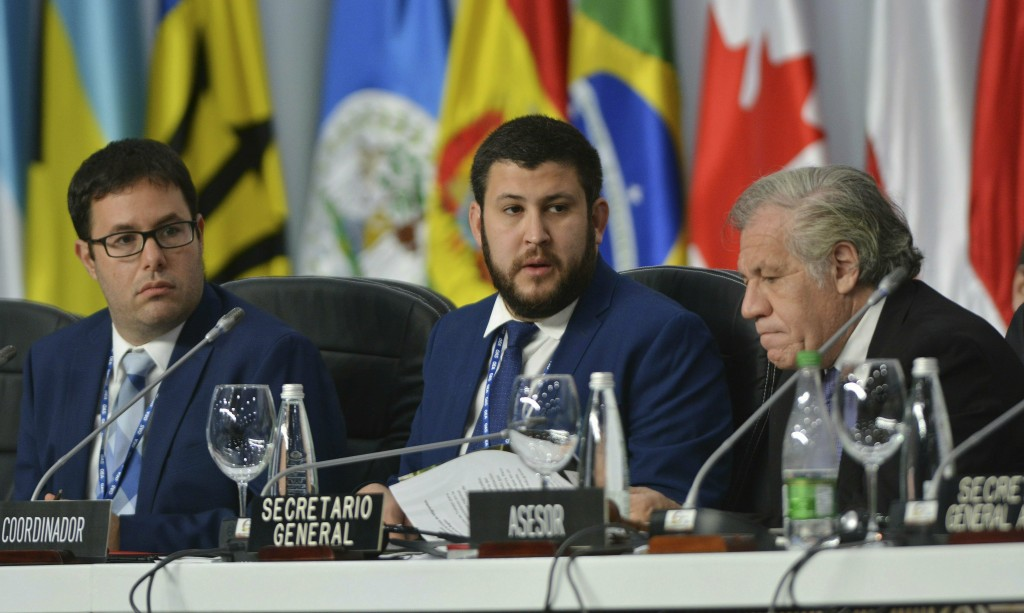 Venezuelan opposition leaders Dany Bahar, from left, David Smolansky and Secretary General of the Organization of American States Luis Almagro, attend...