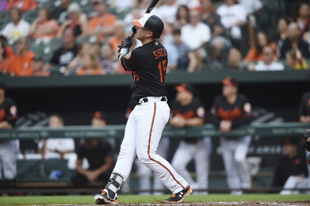 Baltimore Orioles' Chance Sisco follows through on a two-run home run against the Cleveland Indians in the first inning of a baseball game Friday, Jun...