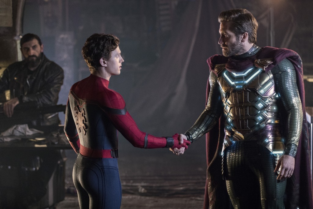 """This image released by Sony Pictures shows, from left, Numan Acar, Tom Holland and Jacky Gyllenhaal in a scene from """"Spider-Man: Far From Home."""" (Jay ..."""