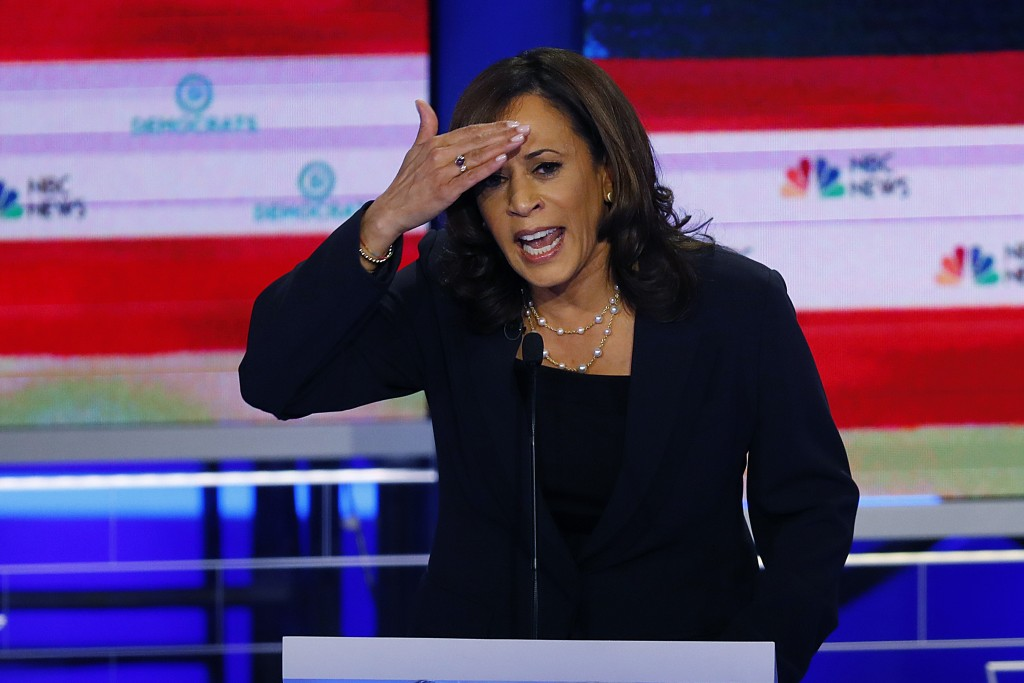 In this June 27, 2019, photo, Democratic presidential candidate Sen. Kamala Harris, D-Calif., gestures during the Democratic primary debate hosted by ...