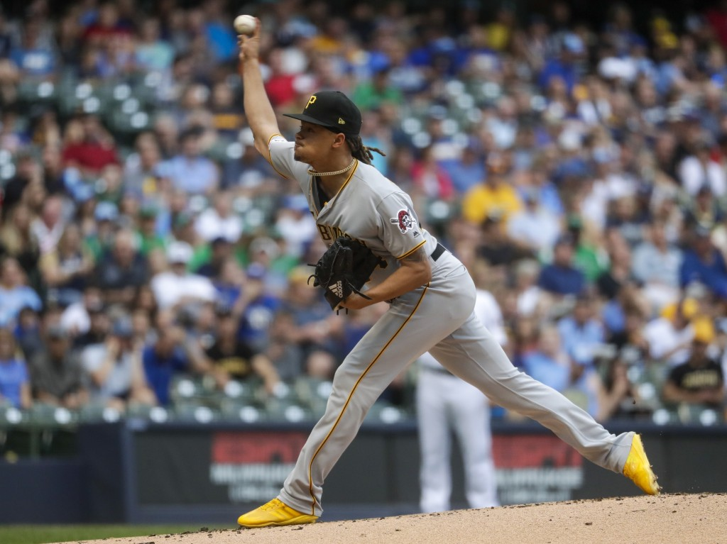 Pittsburgh Pirates starting pitcher Chris Archer throws during the first inning of a baseball game against the Milwaukee Brewers Friday, June 28, 2019...