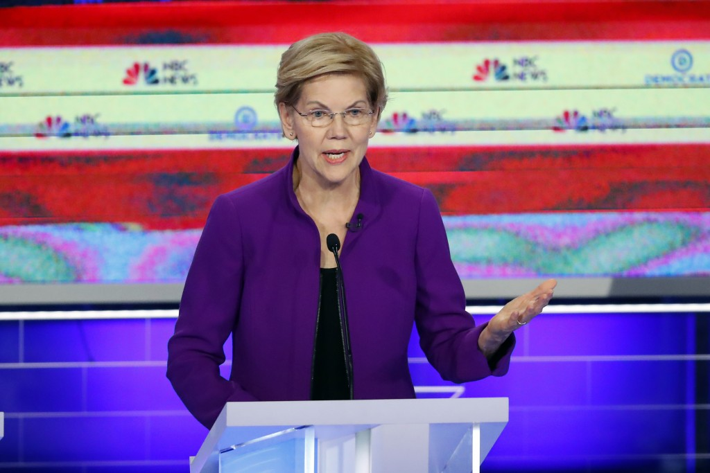 In this June 26, 2019, photo, Democratic presidential candidate Sen. Elizabeth Warren, D-Mass., speaks during a Democratic primary debate hosted by NB...