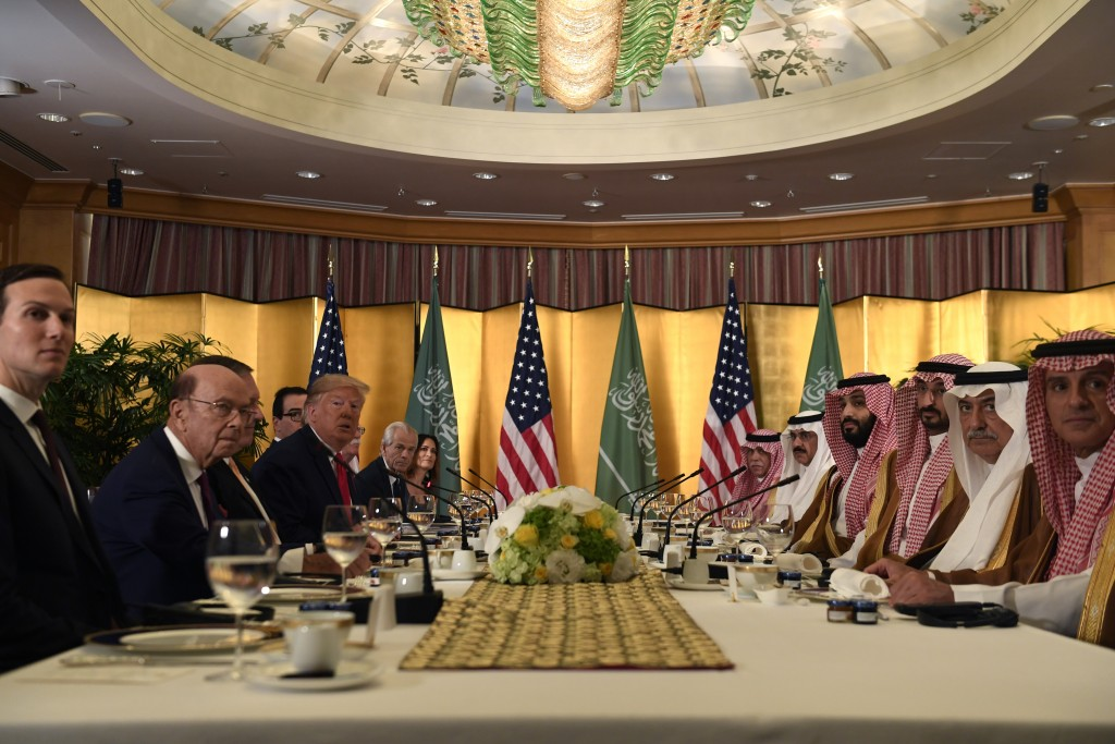 President Donald Trump meets with Saudi Arabia Crown Prince Mohammed bin Salman during a working breakfast on the sidelines of the G-20 summit in Osak...