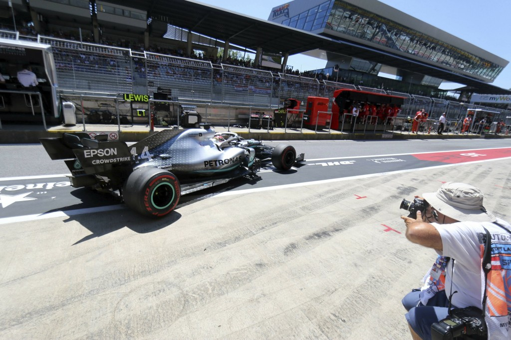 Mercedes driver Lewis Hamilton of Britain leaves the pits during the third free practice session for the Austrian Formula One Grand Prix at the Red Bu...