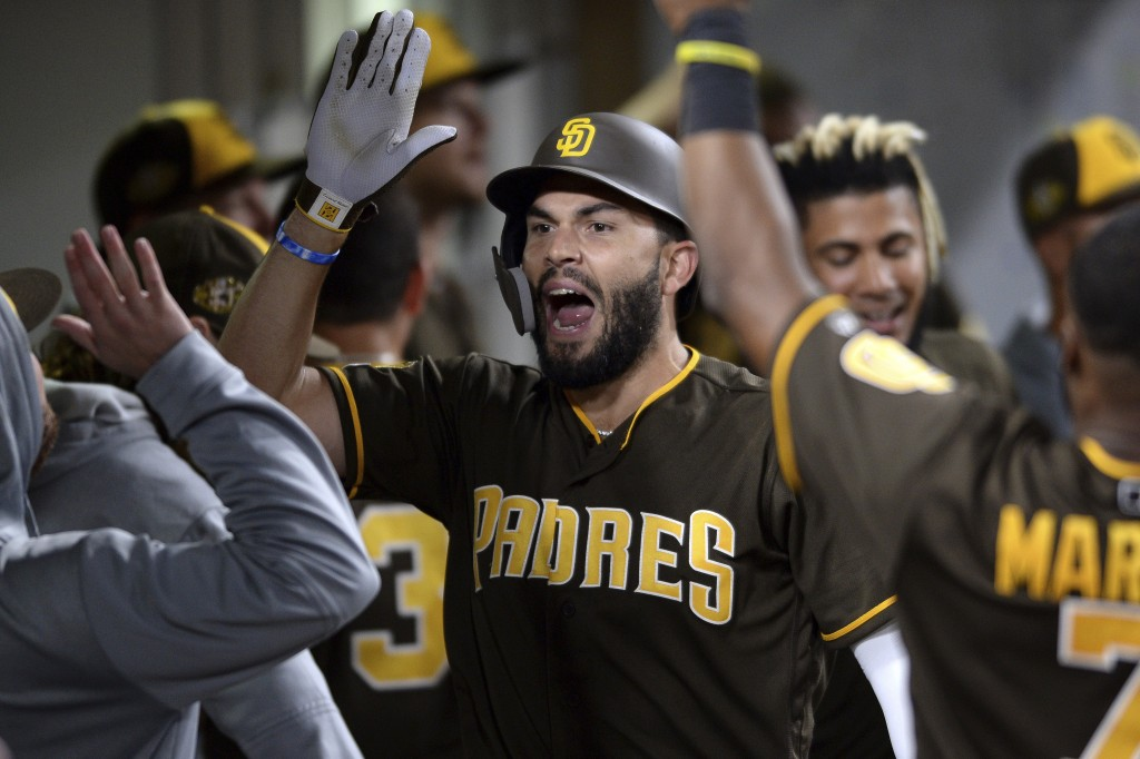 San Diego Padres' Eric Hosmer is congratulated in the dugout after hitting a home run during the sixth inning of the team's baseball game against the ...