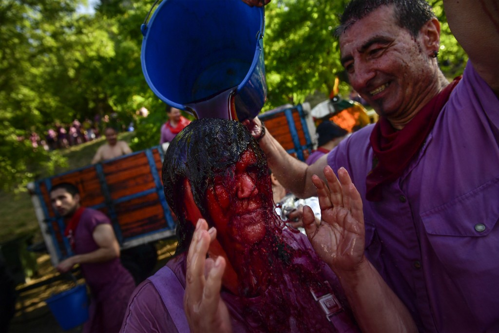 A reveler is covered in wine as people take part in a wine battle, in the small village of Haro, northern Spain, Saturday, June 29, 2019. Hundreds of ...