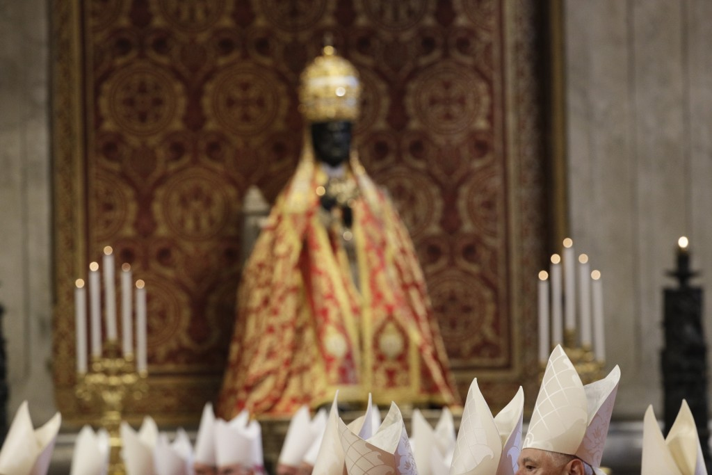 Prelates follow a Mass celebrated by Pope Francis in St. Peter's Basilica at the Vatican, Saturday, June 29, 2019. (AP Photo/Gregorio Borgia)