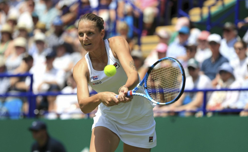 Czech player Karolina Pliskova in action against German Angelique Kerber during the Ladies' Singles Final match of the Nature Valley International at ...