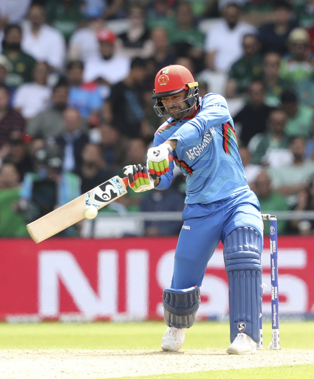 Afghanistan's Rashid Khan bats during the Cricket World Cup match between Pakistan and Afghanistan at Headingley in Leeds, England, Saturday, June 29,...