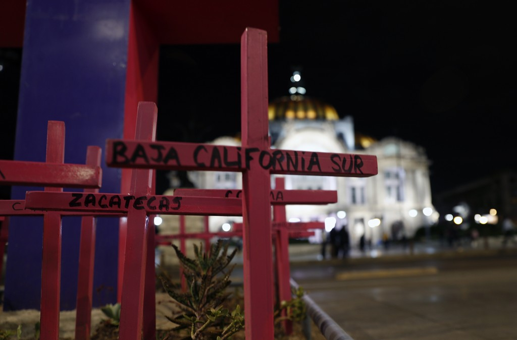 This June 18, 2019 photo shows a garden of pink crosses bearing the names of Mexican states where there has been deliberate killing of females because...