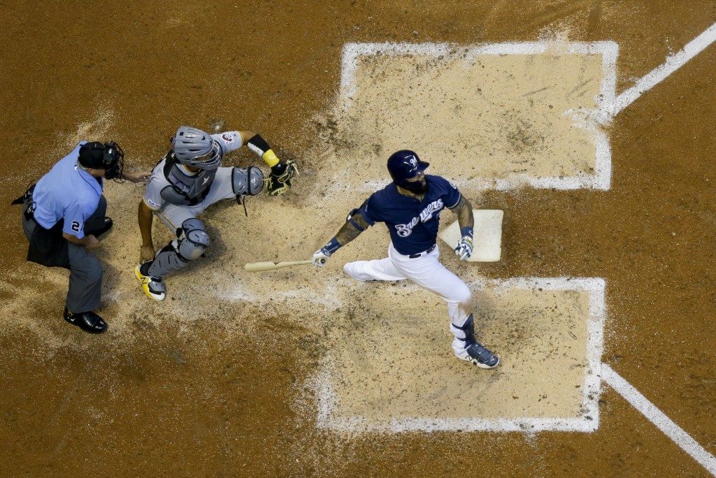 Milwaukee Brewers' Eric Thames hits a home run during the fourth inning of a baseball game against the Pittsburgh Pirates Saturday, June 29, 2019, in ...